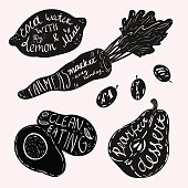 Lettering on fruits and vegetables.