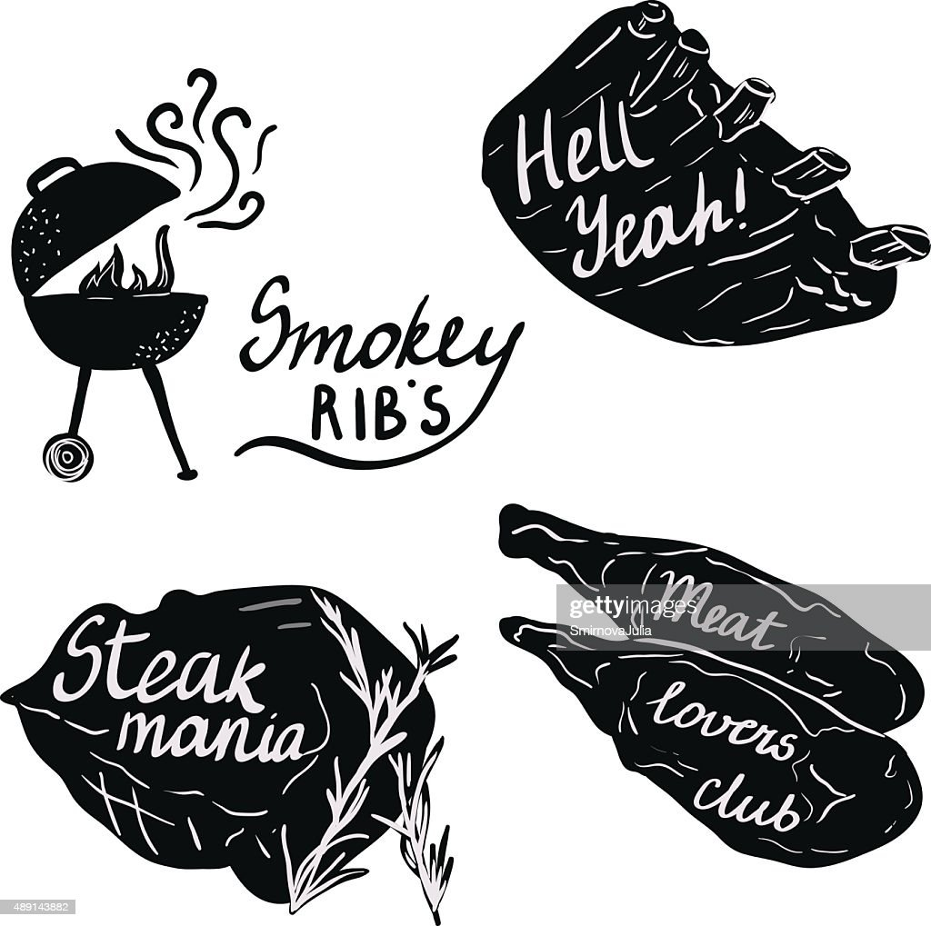 Lettering on meat and ribs for bbq party.