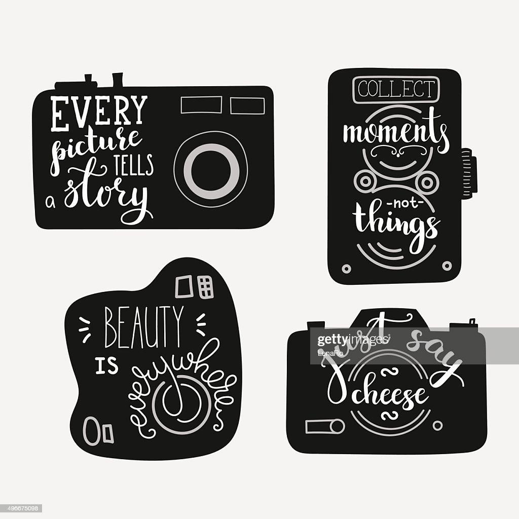 Lettering on vintage old camera shape set