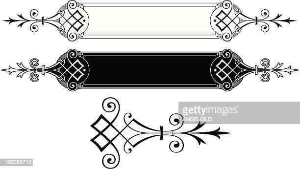 文字と終了のスクロールパネル - ケルト風点のイラスト素材/クリップアート素材/マンガ素材/アイコン素材