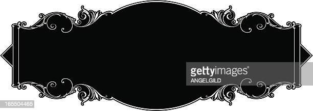 lettering panel sign design - store sign stock illustrations