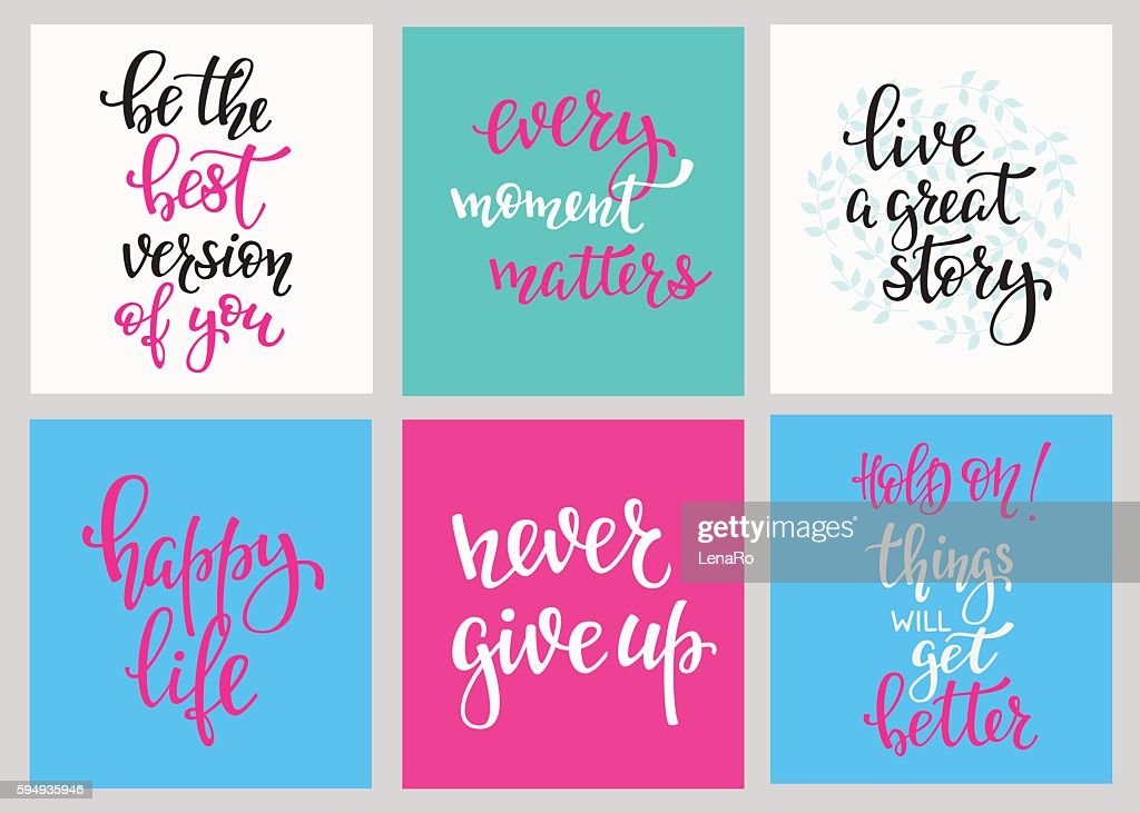 Lettering postcard quotes set