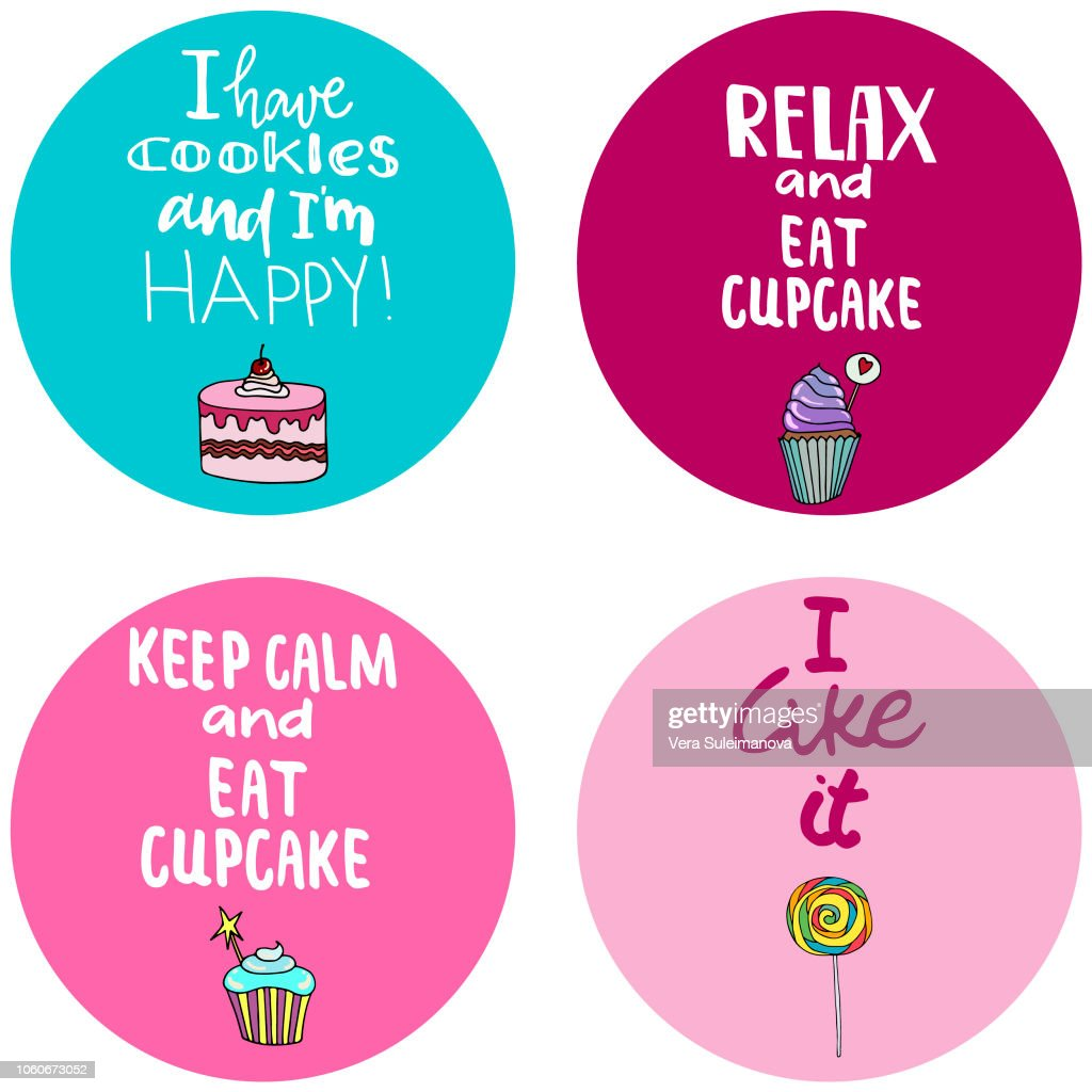 Lettering quote on a background with candy, ice cream, muffins, donuts, cupcake, macaroons and other sweets