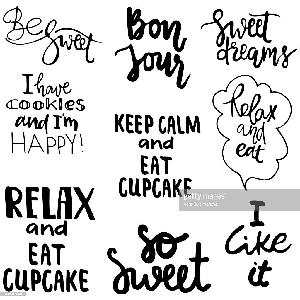 Lettering quotes about candy, cupcakes and other sweets