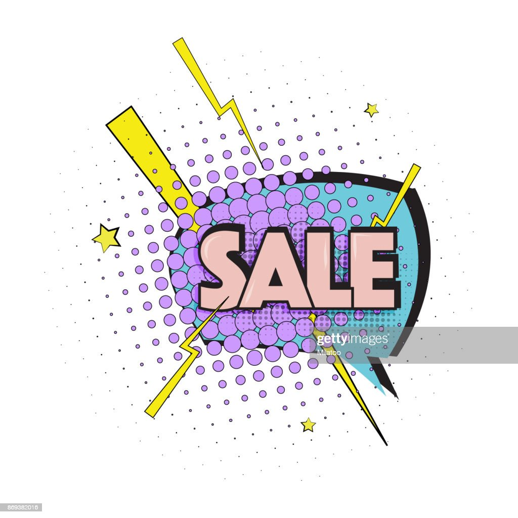 Lettering sale, emotion, surprise. Pop art text marketing effect. Vector bubble icon speech phrase, cartoon font label tag expression, advertising icon. Comic book balloon.