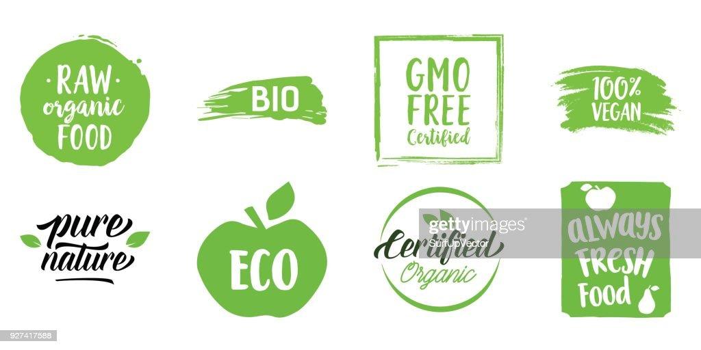Lettering set for organic food shop