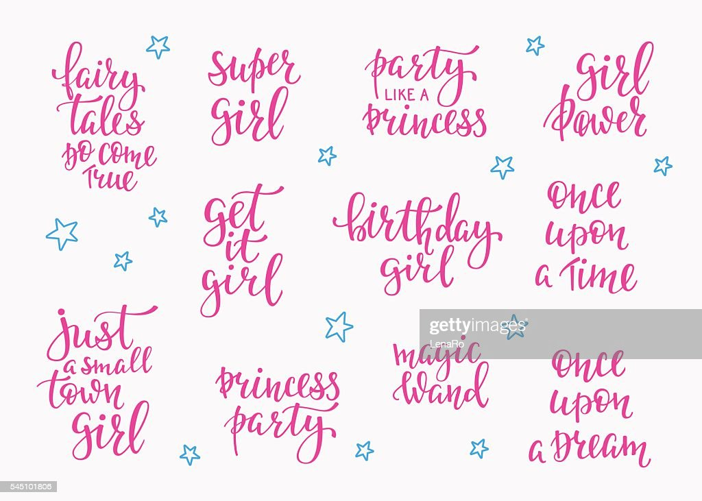 Lettering typography fairy tale girl overlay set