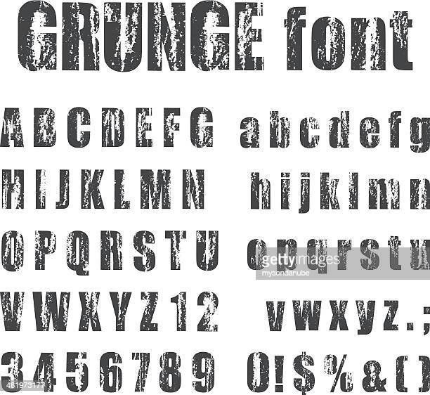 letterpress grunge alphabets - woodcut stock illustrations