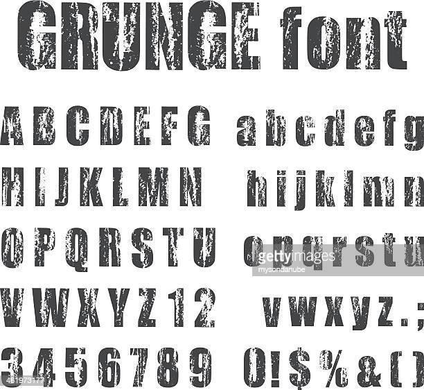 letterpress grunge alphabets - woodcut stock illustrations, clip art, cartoons, & icons