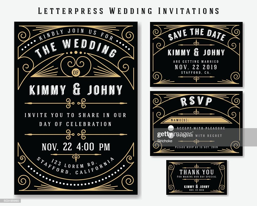 Letterpress Wedding Invitation Design Templat