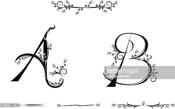 letters a and b - letter b stock illustrations