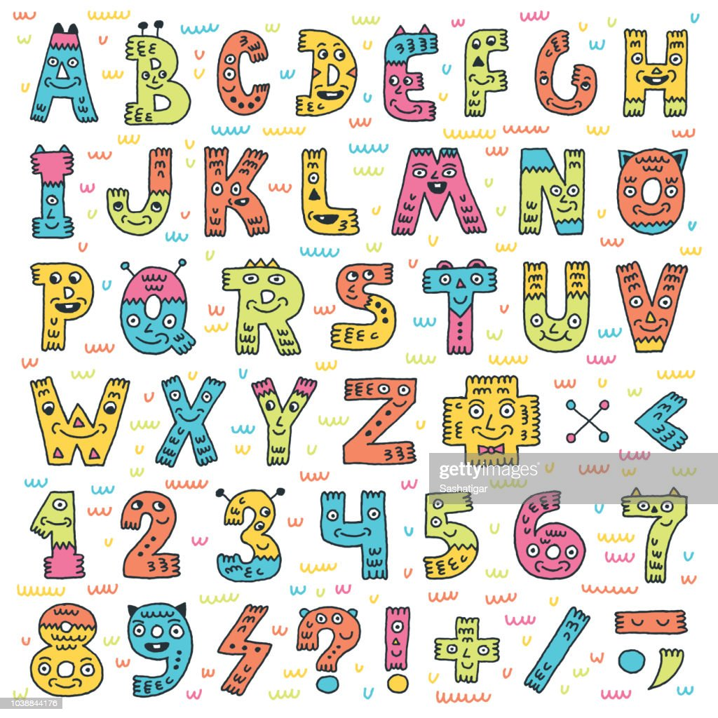 ABC Letters And Numbers Doodle Characters. Color Drawing. Vector Illustration.
