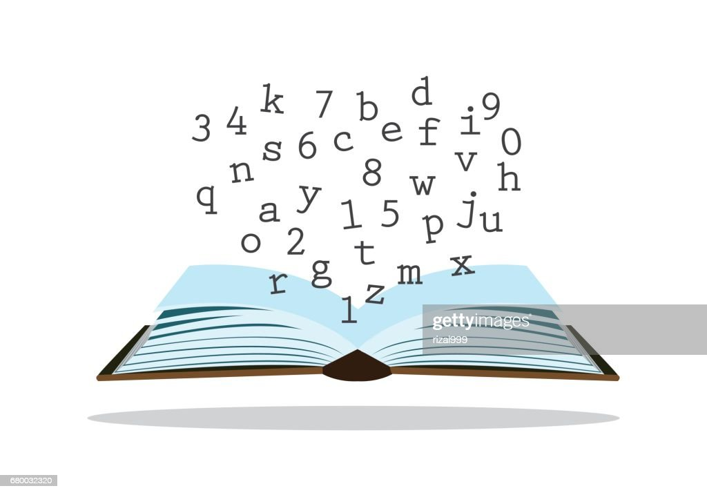 letters and numbers on a book