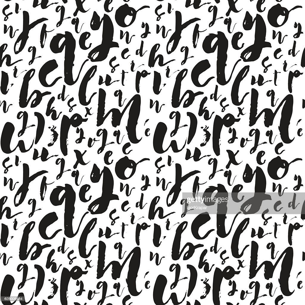Letters art brush calligraphy text seamless background pattern