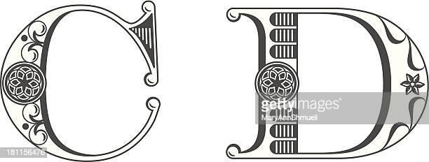 ilustrações de stock, clip art, desenhos animados e ícones de letras c e d - letrac