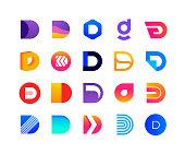 Letters D - logo set