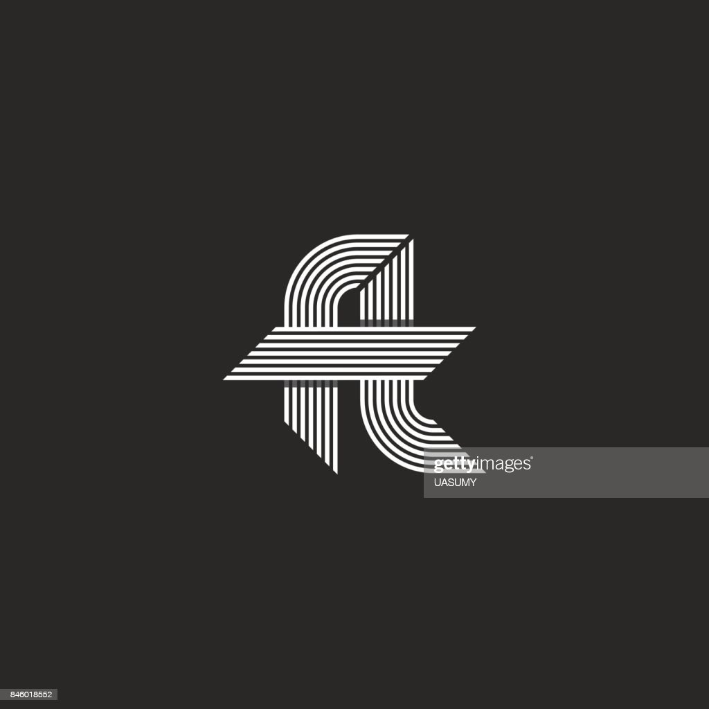 Letters ft icon idea monogram, linked hipster f and t symbols, overlapping thin parallel lines emblem modern style