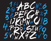 Letters of the alphabet written with a brush.