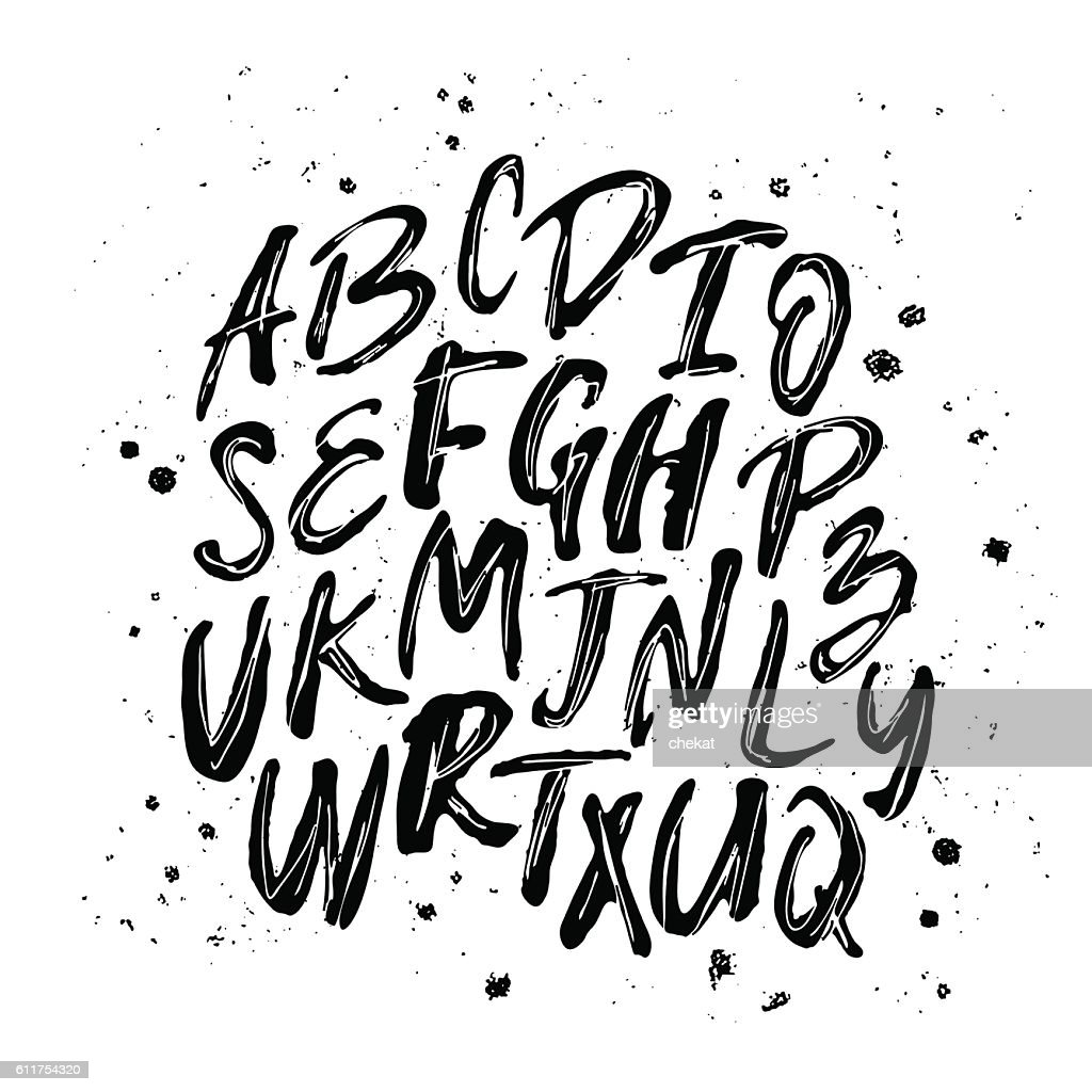 Letters of the alphabet written with a brush