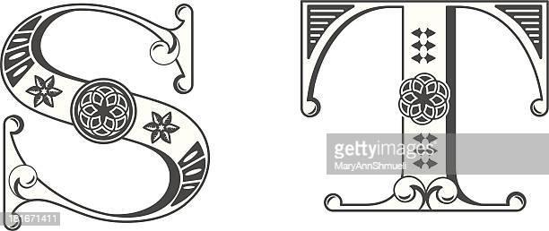 illustrations, cliparts, dessins animés et icônes de lettres s, t - ��t��