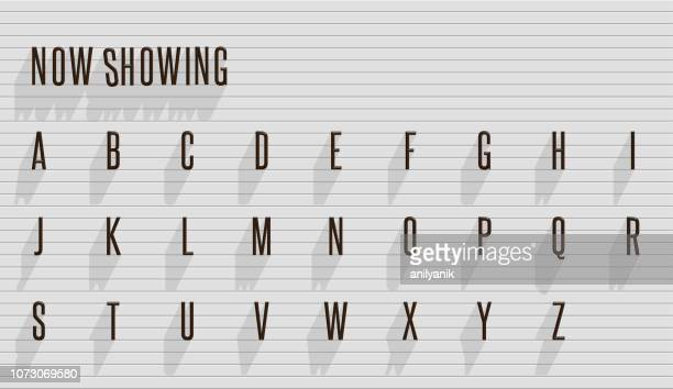 letters- theater titles - alphabet stock illustrations