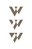 Letters W cutout sliding logo templates