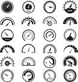 Level measure infographic. Speedometer sign fuel limit speed indicator vector black signs