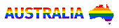 Lgbt flag in contour of Australia. Rainbow flag in contour of Australia. Vector illustration.