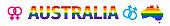 Lgbt flag in contour of Australia. Same sex symbols. Rainbow flag in contour of Australia. Vector illustration.