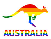 Lgbt flag in contour of kangaroo and word Australia. Rainbow flag in contour of kangaroo and word Australia. Vector illustration.