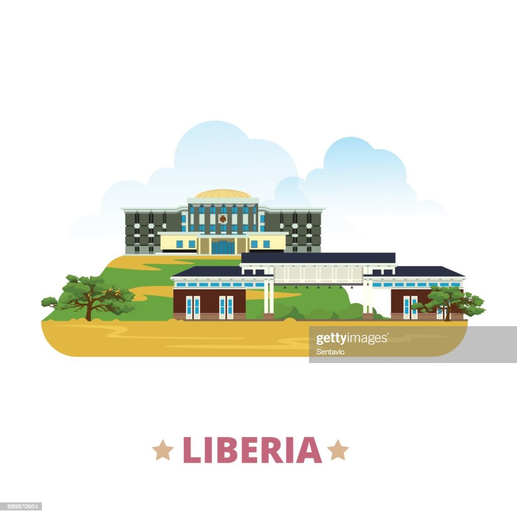 Liberia country flat cartoon style historic sight showplace web site vector illustration. World vacation travel Africa African collection. University of Liberia in Monrovia Capitol Building Monrovia.