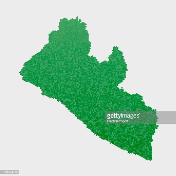 Liberia-Land-Map-grünen Sechseck-Muster