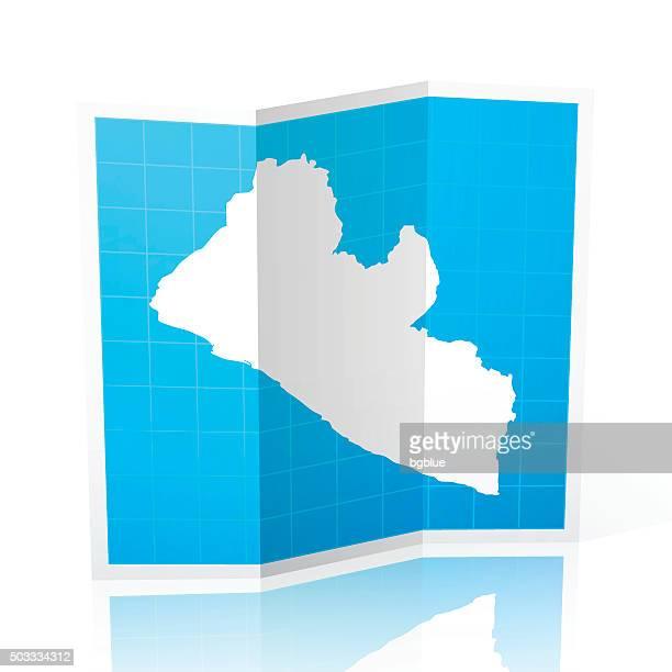 liberia map folded, isolated on white background - liberia stock illustrations, clip art, cartoons, & icons