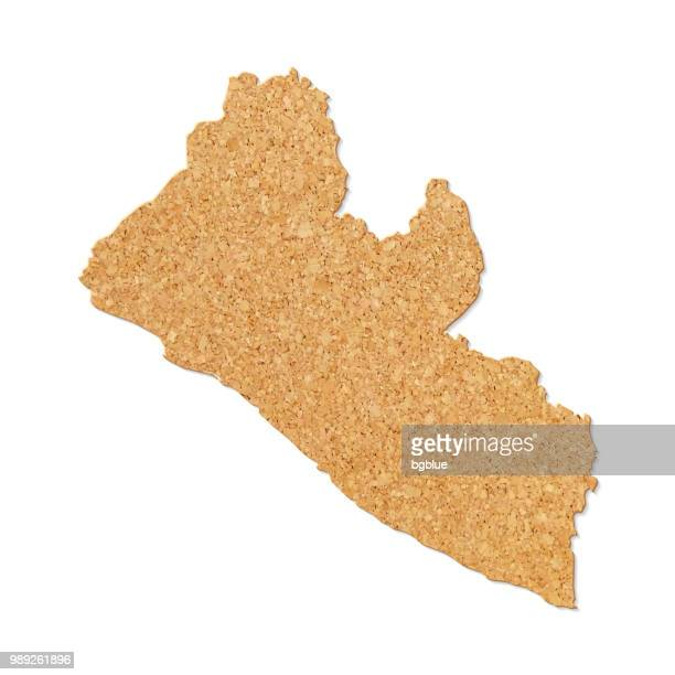 liberia map in cork board texture on white background - liberia stock illustrations, clip art, cartoons, & icons
