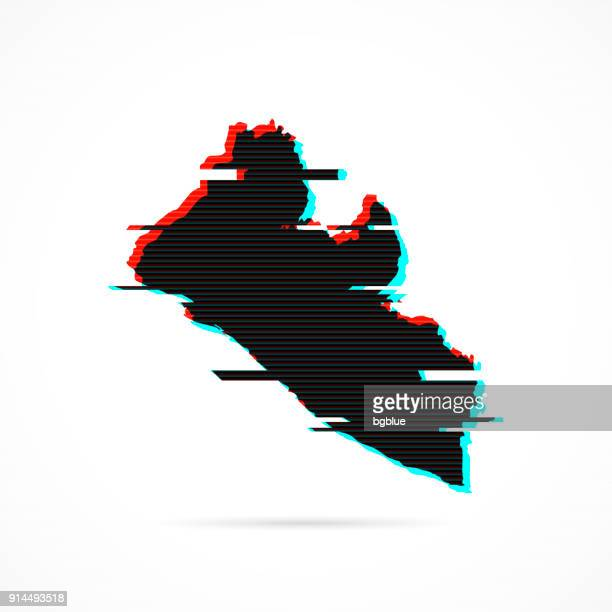liberia map in distorted glitch style. modern trendy effect - liberia stock illustrations, clip art, cartoons, & icons