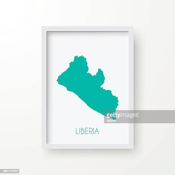 liberia map in frame on white background - liberia stock illustrations, clip art, cartoons, & icons