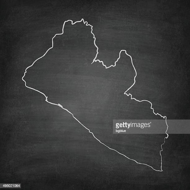 liberia map on blackboard - chalkboard - liberia stock illustrations, clip art, cartoons, & icons