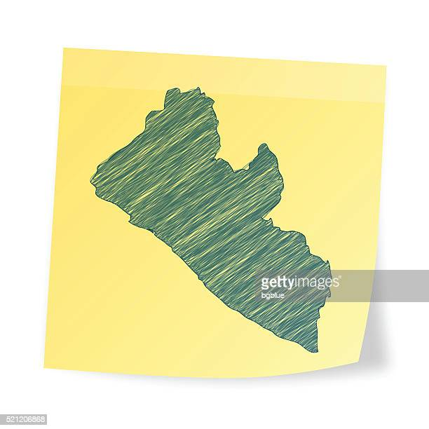 liberia map on sticky note with scribble effect - liberia stock illustrations, clip art, cartoons, & icons