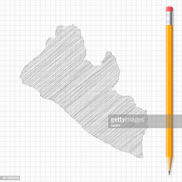 liberia map sketch with pencil on grid paper - liberia stock illustrations, clip art, cartoons, & icons