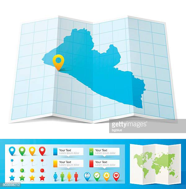 liberia map with location pins isolated on white background - liberia stock illustrations, clip art, cartoons, & icons