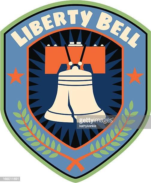 liberty bell shield - liberty bell stock illustrations