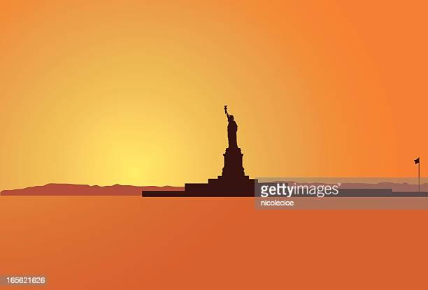 liberty island - ellis island stock illustrations, clip art, cartoons, & icons