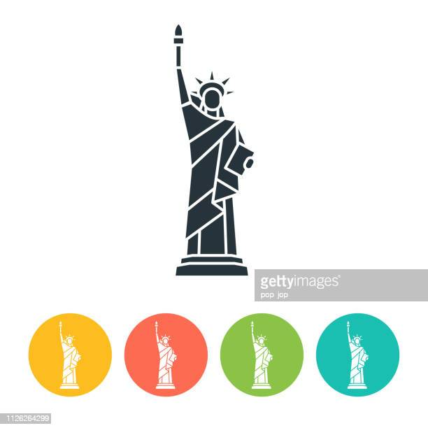 liberty statue flat icon - color illustration - freedom stock illustrations, clip art, cartoons, & icons