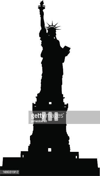 ilustraciones, imágenes clip art, dibujos animados e iconos de stock de estatua de la libertad de silhouette (vector - estatuadelalibertad
