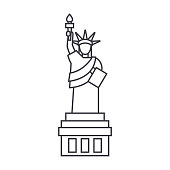 liberty statue  vector line icon, sign, illustration on background, editable strokes