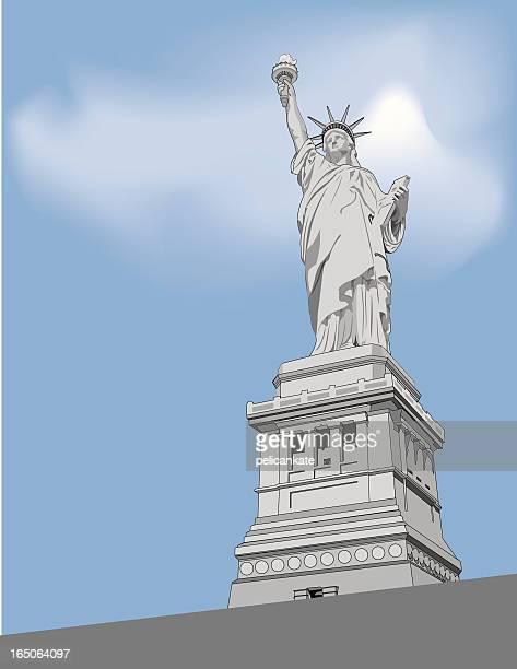 liberty - ellis island stock illustrations, clip art, cartoons, & icons