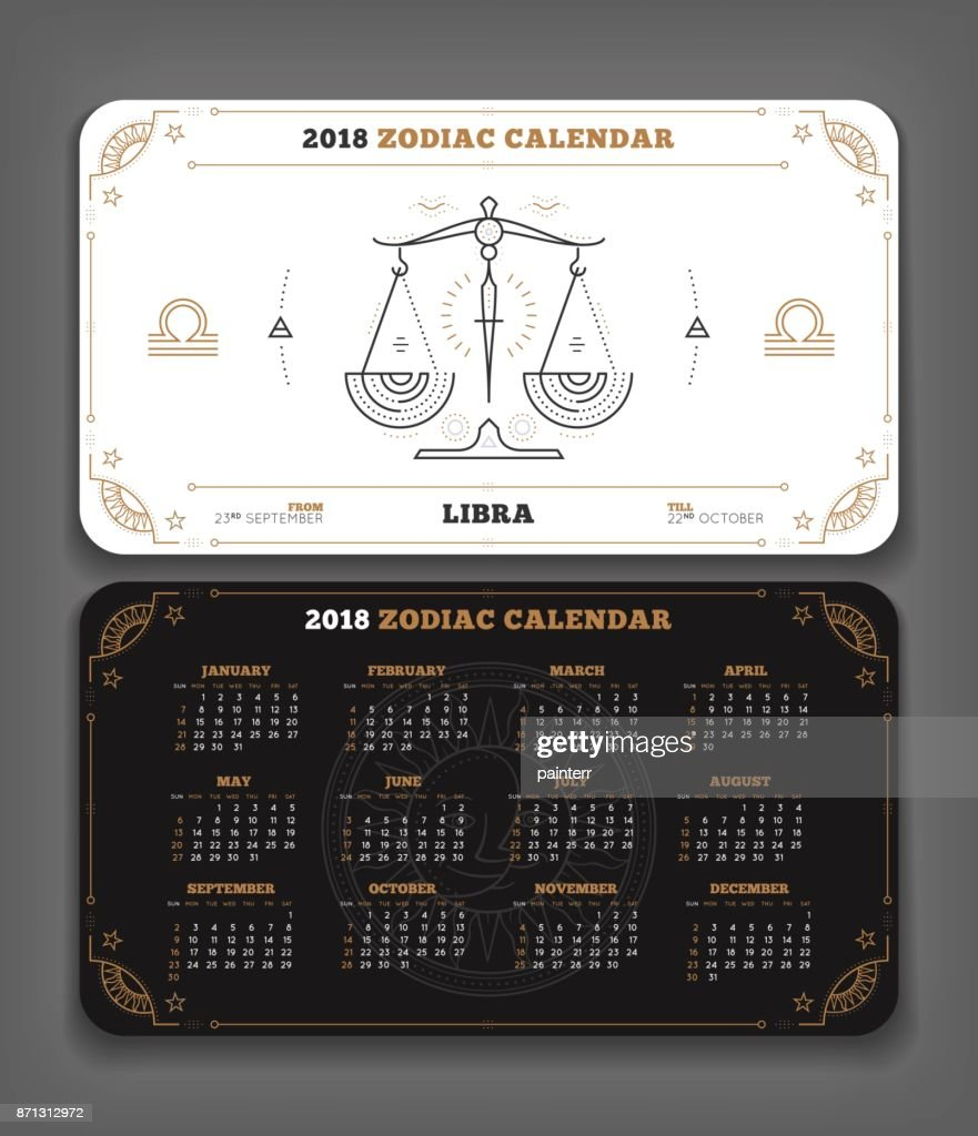 libra 2018 year zodiac calendar pocket size horizontal layout double side black and white color design