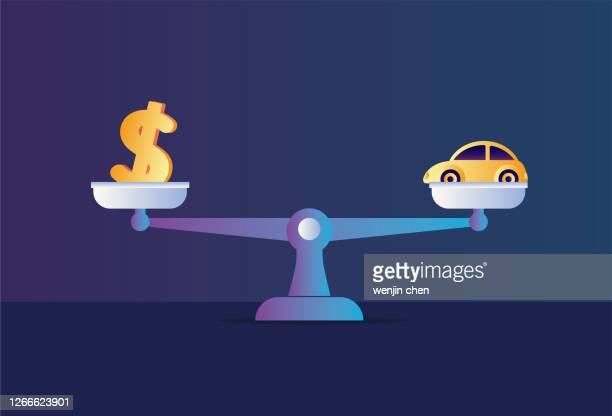 libra and dollars, cars - scale stock illustrations
