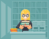 Librarian girl holding book library knowledge education learning flat design