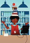 Librarian with books on her head